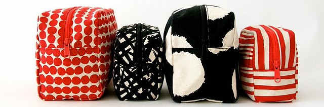 red and black cosmetic bags
