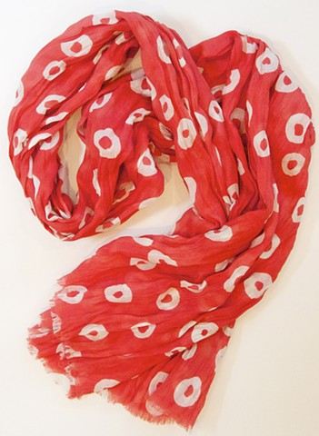 donut red cotton scarf