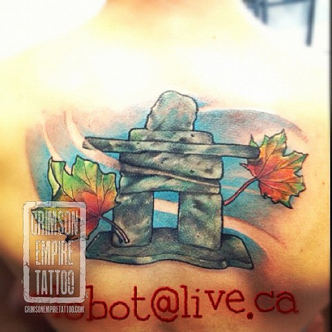 Inukshuk coverup on back by Chad Clothier. Follow Chad @clobot