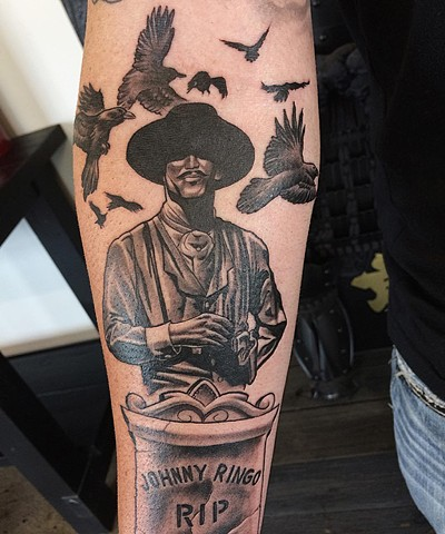 Doc Holiday Tombstone Tattoo By Chad Lavers Black And Grey Crimson Empire Tattoo