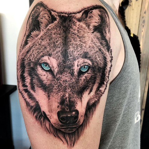 Wolf Shoulder Tattoo by Chad Lavers Black and Grey Crimson Empire Tattoo