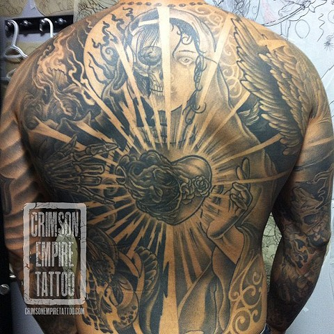 Good vs evil theme on back by Jared Phair. Follow Jared @jroctizzle