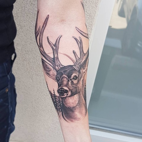 Deer With Nature Scape Tattoo By Sasha Roussel Black And Grey Black Gold Tattoo Co