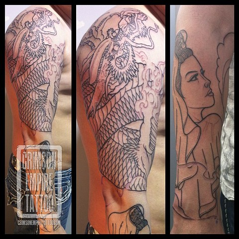 Dragon and kannon sleeve on arm by Curt Semeniuk