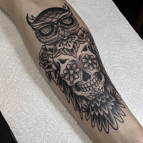 Owl and Skull Arm Tattoo by Chris Benson Black and Grey Crimson Empire Tattoo