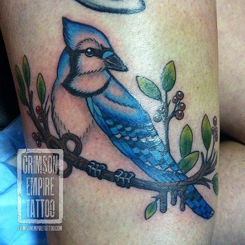 Bluebird on thigh by Jessica Doyle