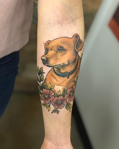 Dog With Flowers Tattoo By Vanessa Spezowka Color Crimson Empire Tattoo
