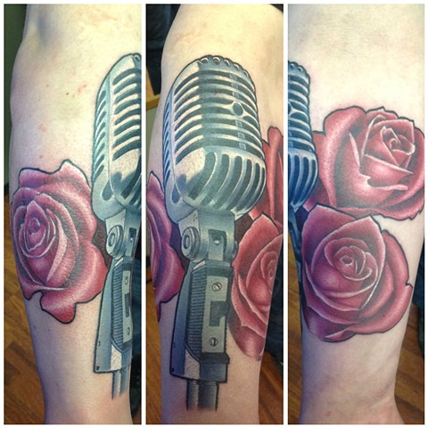 Microphone And Roses Tattoo By Kyiel Cholik Color Crimson Empire Tattoo