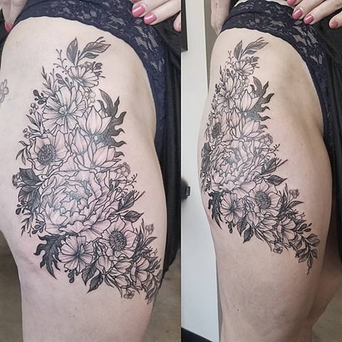 Floral Thigh Hop Tattoo by Adrienne Alexander Black Work Crimson Empire Tattoo