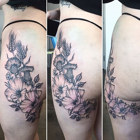 Floral Tattoo By Adrienne Alexander Black Work Crimson Empire Tattoo
