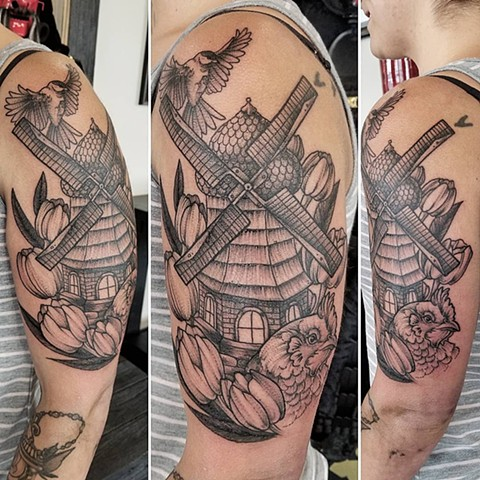 Windmill Tattoo By Adrienne Alexander Black Work Crimson Empire Tattoo