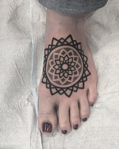 Mandala Tattoo By Cheyanne Kot Pointillism Crimson Empire Tattoo