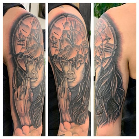 Clock and Woman Arm Tattoo by Dale Moostoos Black and Grey Crimson Empire Tattoo
