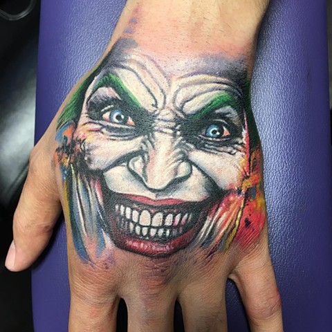 Joker Tattoo By Chris Labrenz Color Black Gold Tattoo Co