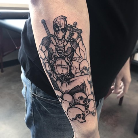 Deadpool Tattoo By Adrienne Alexander Black And Grey Crimson Empire Tattoo