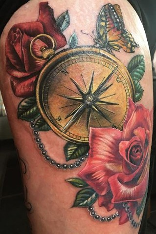 Compass With Butterflies And Roses Tattoo By Samantha Storey Color Crimson Empire Tattoo