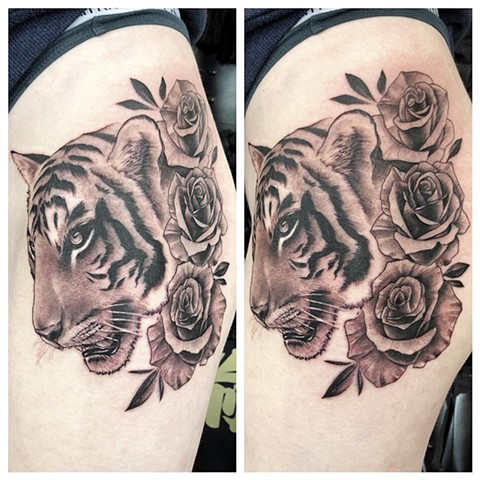 Tiger With Roses Tattoo By Chad Lavers Black And Grey Crimson Empire Tattoo