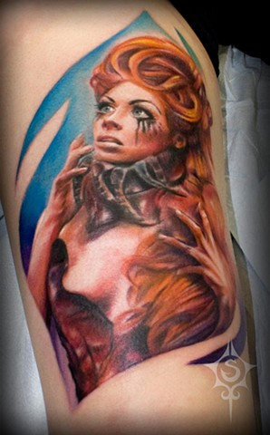 Female Portrait Tattoo By Samantha Storey Color Crimson Empire Tattoo
