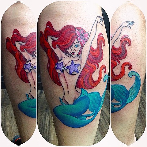 Ariel Tattoo By Jess Alther Color Black Gold Tattoo Co