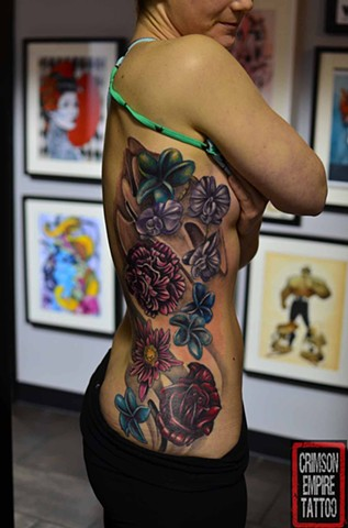Floral Tattoo By Josh Lamoureux Color Crimson Empire Tattoo