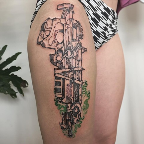 Destiny Inspired Bad Juju Gun Tattoo By Adrienne Alexander Black Work With Color Crimson Empire Tattoo