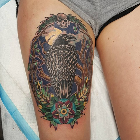 Raven Tattoo By Sheila Anderson Color Crimson Empire Tattoo