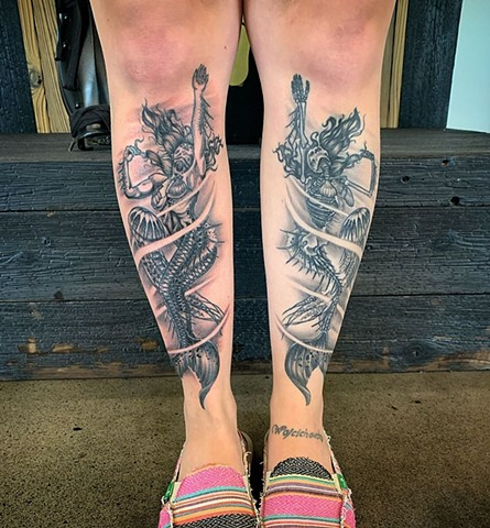 Mermaid Shin Tattoo By Dale Moostoos Black and Grey Crimson Empire Tattoo