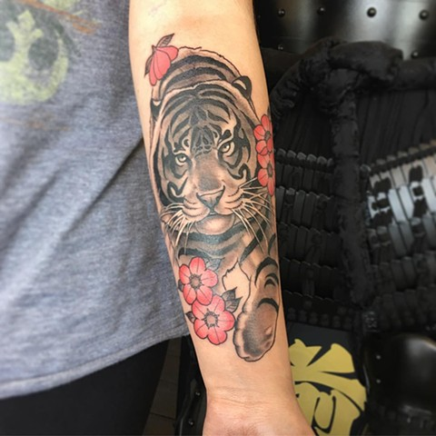 Tiger And Cherry Blossoms Tattoo By Curt Semeniuk Black And Grey With Color Crimson Empire Tattoo