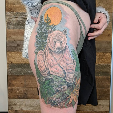 Bear and Nature Scenery Thigh Tattoo by Sheila Anderson Color Crimson Empire Tattoo
