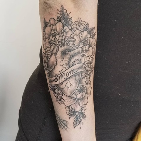 Anatomical Heart with FLowers Arm Tattoo by Adrienne Alexander Black Work Crimson Empire Tattoo