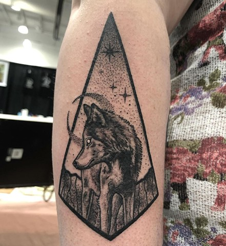 Wolf Geometric Arm Tattoo By Cheyanne Kot black work Crimson Empire Tattoo