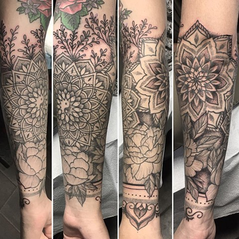 Flowers And Mandala Tattoo By Cheyanne Kot Pointillism Crimson Empire Tattoo