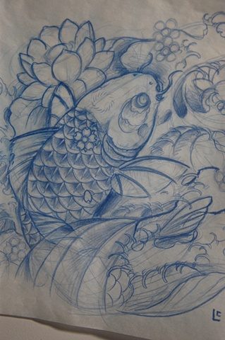 koi Fish Sketch Tattoo