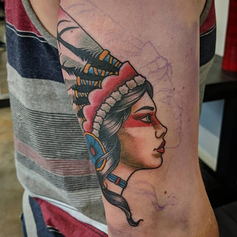 Traditional Aboriginal Woman Tattoo By Landon Wierenga Color Crimson Empire Tattoo