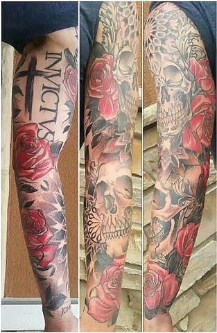 Skull With Roses And Mandalas Tattoo By Ashley Gray Black And Grey With Color Crimson Empire Tattoo