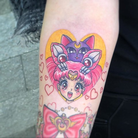 Sailor Chibi Moon Tattoo by Vanessa Spezowka Color Crimson Empire Tattoo
