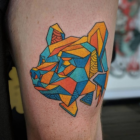 Geometric Bear Tattoo By Landon Wierenga Color Crimson Empire Tattoo
