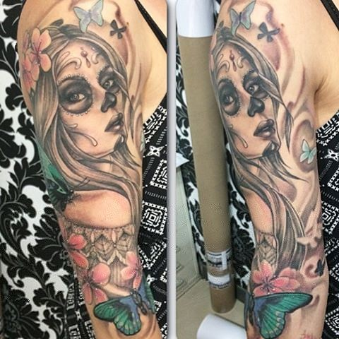 Day of the Dead Girl Tattoo By Sarah Michelle Black And Grey With Color Black Gold Tattoo Co
