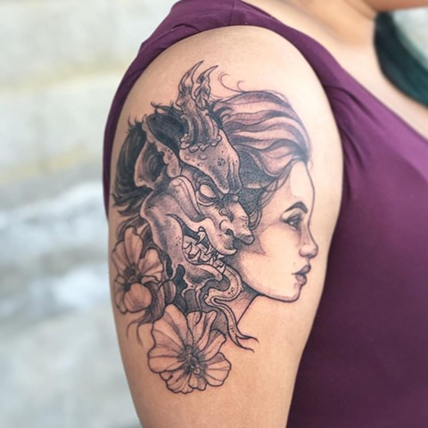 Demon and Woman Arm Tattoo by Vanessa Spezowka Black and Grey Crimson Empire Tattoo
