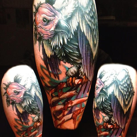 Vulture Tattoo By Marshall Khalil Color Crimson Empire Tattoo