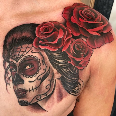 Day of Dead Girl with Roses Chest Tattoo By Chad Lavers Color Crimson Empire Tattoo