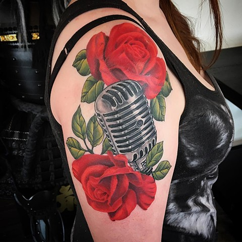 Microphone And Roses Tattoo By Dale Moostoos Color Crimson Empire Tattoo