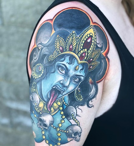 Kali Tattoo By Vanessa Spezowka Color Crimson Empire Tattoo