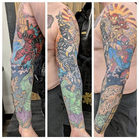 Avengers Sleeve By Sheila Anderson Color Crimson Empire Tattoo