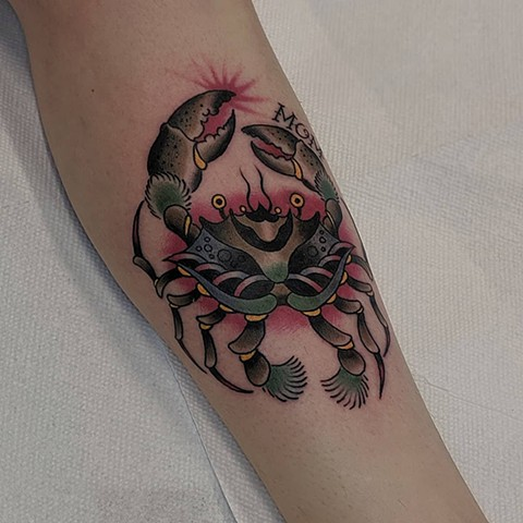 Traditional Crab Leg Tattoo by Chris Benson Color Crimson Empire Tattoo