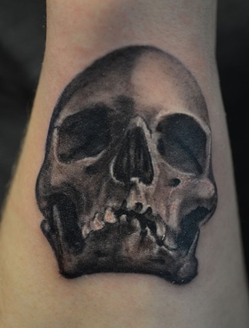 Skull Tattoo By Josh Lamoureux Black And Grey Crimson Empire Tattoo