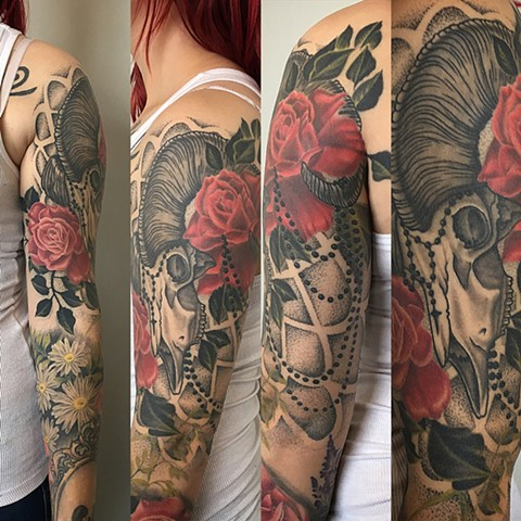 Ram Skull And Rose With Beads And Mandala Tattoo By Dale Moostoos Black And Grey With Color Crimson Empire Tattoo