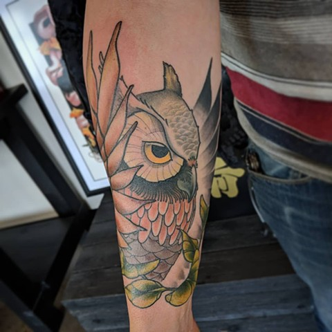 Owl Tattoo By Landon Wierenga Color Crimson Empire Tattoo