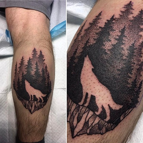 Negative Space Wolf And Trees Tattoo By Cheyanne Kot Pointillism Crimson Empire Tattoo