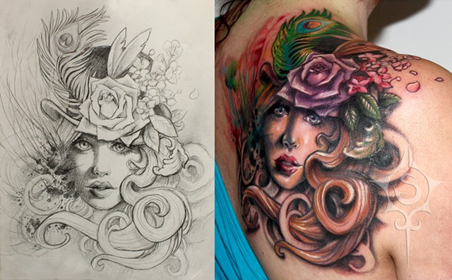 Woman Wearing Floral Top Hat Tattoo By Samantha Storey Color Crimson Empire Tattoo